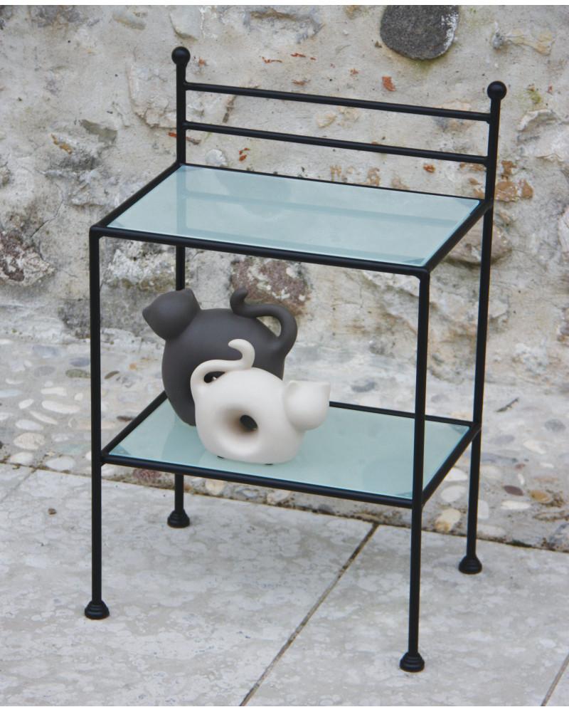 Comodino in ferro battuto con vetro