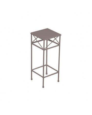 tavolino in ferro battuto quadrato colore tortora