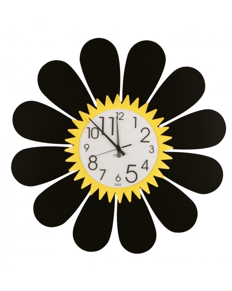 orologio da parete girasole colore giallo e nero