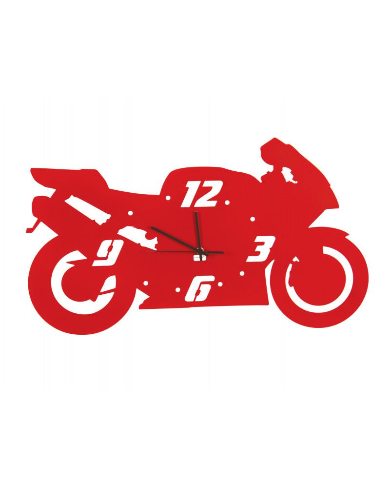 orologio da parete moderno a forma di moto colore rosso