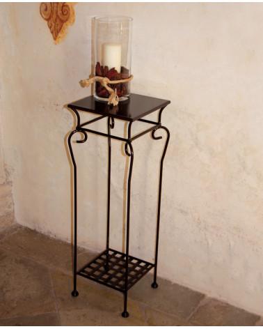console in ferro battuto quadrata ripiano in ferro 31 x 31 cm colori nero, avorio, tortora, marrone