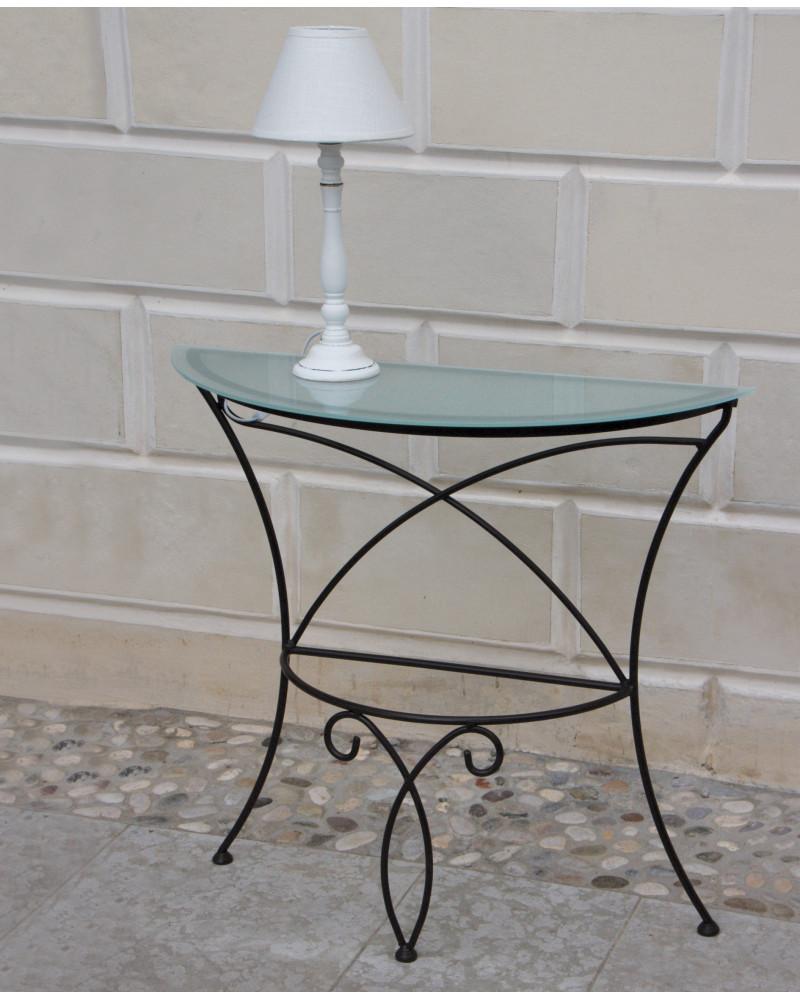 Consolle ingresso in ferro battuto con cristallo stile 700 colore nero