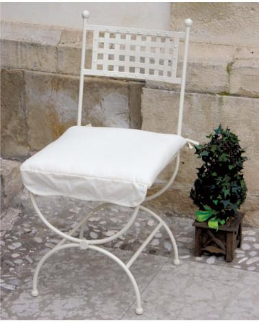 sedia in ferro battuto colore avorio